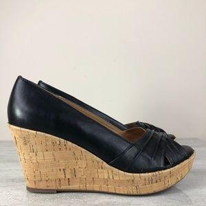 Sofft Black Leather Peep Toe Cork Wedges